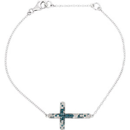 "14K White 3/8 CTW Diamond Sideways Cross 8"" Bracelet"