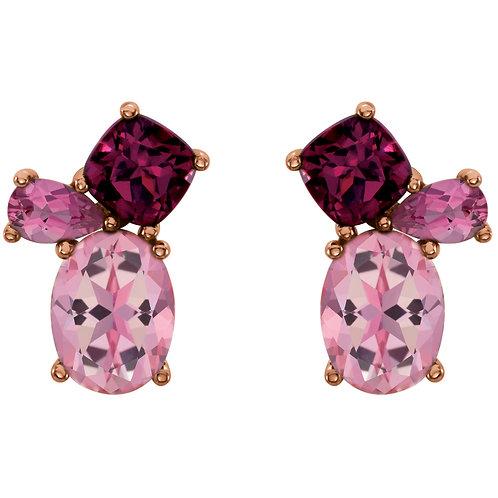 14K Rose Baby Pink Topaz,Rhodolite Garnet & Pink Tourmaline Earrings