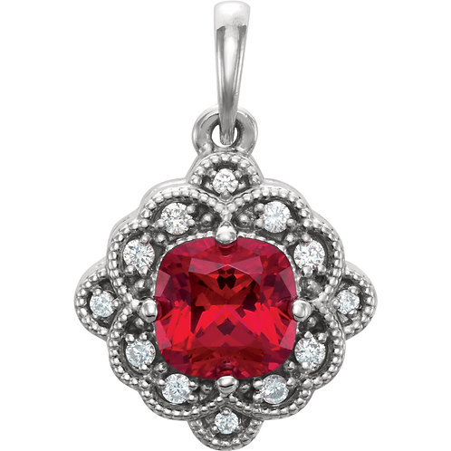 14K White Chatham® Created Ruby & .03 CTW Diamond Pendant