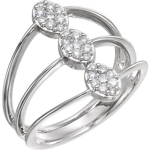 14K White 1/3 CTW Diamond Cluster Ring