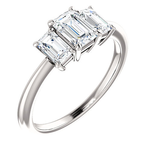 14K White 6x4mm Cubic Zirconia & 1/2 CTW Diamond Engagement Ring