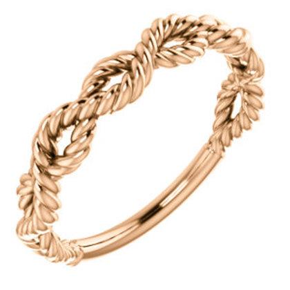 14K Rose Gold Twisted Rope Design Band