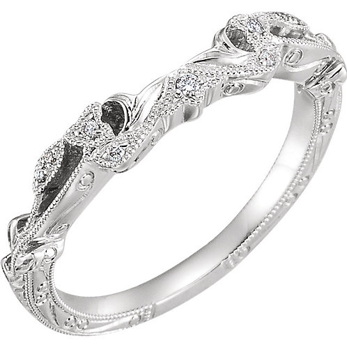 14K White Gold .05 CTW Diamond Design-Engraved Band for 5.5mm Cushion Engagment