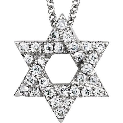 """14K White Petite Star of David 1/6 CTW Diamond 16"""" Necklace"""