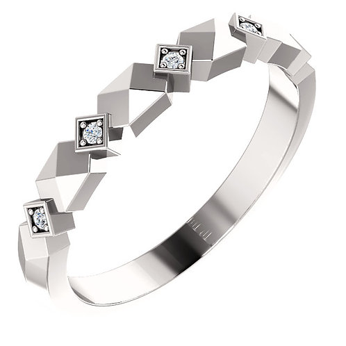 14K White Gold .03 CTW Diamond Band