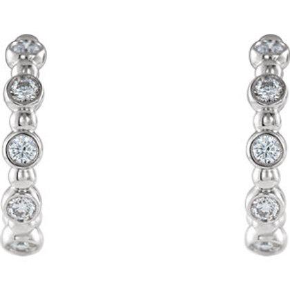 14K White Gold 1/5 CTW Diamond Beaded Hoop Earrings
