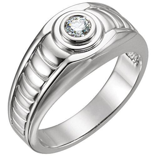 14K White 1/4 CTW Diamond Men's Ring