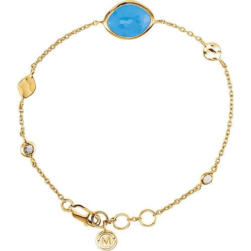 "18K Vermeil Blue Chalcedony, Smoky Quartz & Moonstone 7.5"" Bracelet"