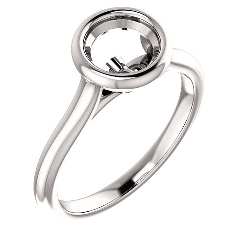 14K White Gold 6.5mm Round Bezel Engagement Ring Mounting
