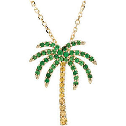 "14K Yellow Tsavorite Garnet & Yellow Sapphire Palm Tree 18"" Necklace"