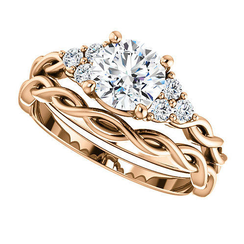 14K Rose Gold 6.5mm Round 1/5 CTW Diamond Semi-set Engagement Ring