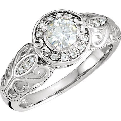 14K White 5mm Round Forever Classic™ Moissanite & .08 CTW Diamond Engagement Rin