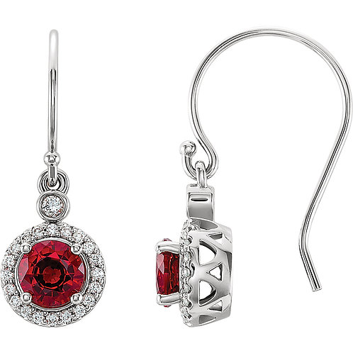 14K White Chatham Lab Grown Ruby & .08 CTW Diamond Halo-Style Earrings