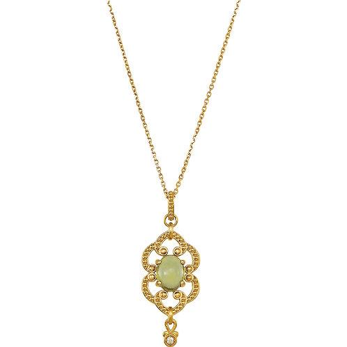 "14K Yellow Peridot & .015 CTW Diamond 18"" Necklace"