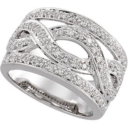 14K White 1/2 CTW Diamond Infinity-Inspired Band