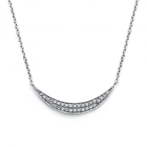 Sterling Silver Rhodium Plated Crescent CZ Necklace
