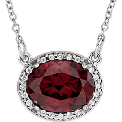 """14K White Rhodolite Garnet & .05 CTW Diamond 16"""" Necklace"""