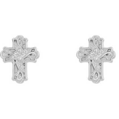 14K White Gold Floral-Inspired Cross Earrings