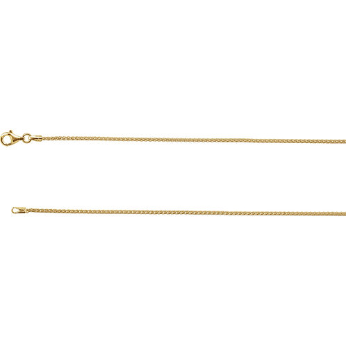 """Sterling Silver Wheat Chain with 18KY Gold Plating 18"""""""