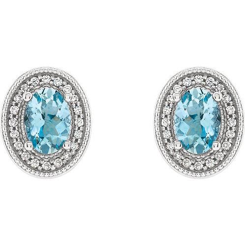 14K White 5mm Opal & 1/5 CTW Diamond Halo-Style Earrings