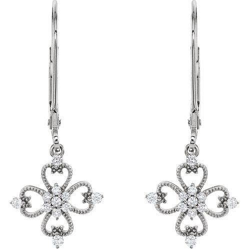 Sterling Silver 1/5 CTW Diamond Clover Lever Back Earrings