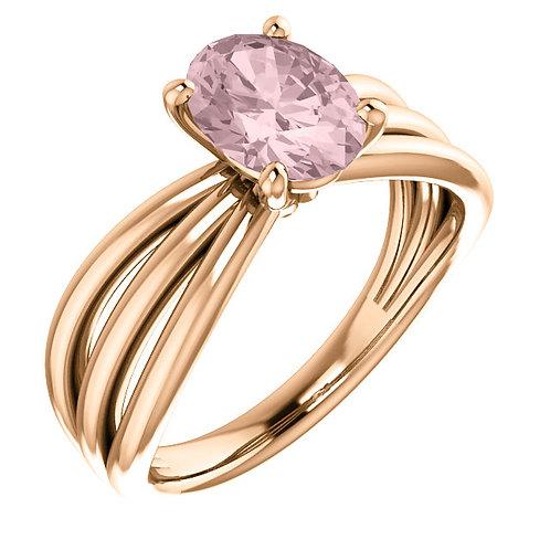 14K Rose Gold Morganite Ring