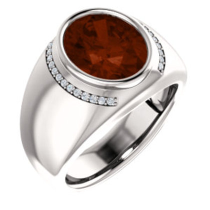 14K White Mozambique Garnet & 1/8 CTW Diamond Ring