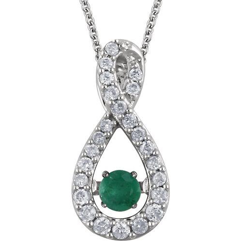 "14K White Emerald & 1/6 CTW Diamond 18"" Mystara® Necklace"