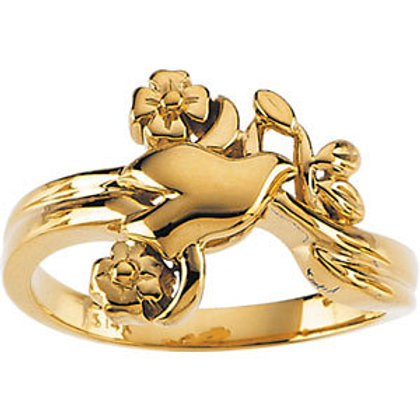 14K Yellow Gold Holy Spirit Dove & Floral Inspired Ring