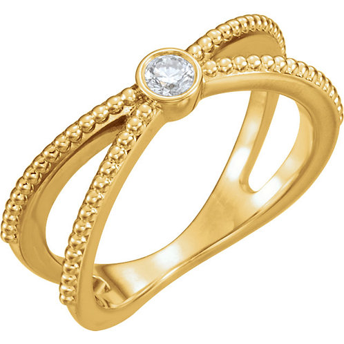 14K Yellow 1/8 CTW Diamond Bezel Set Beaded Ring
