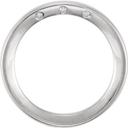 14K White 4mm .03 CTW Diamond Accented Band