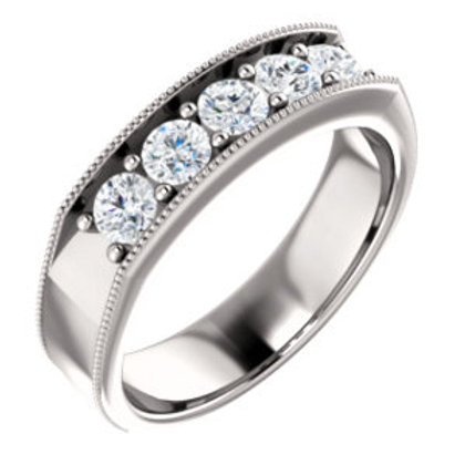 14K White 1 CTW Men's Diamond Ring