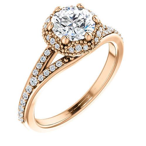 14K Rose Gold 5.88mm Round Halo 1/4 CTW Diamond Semi-set Engagement Ring