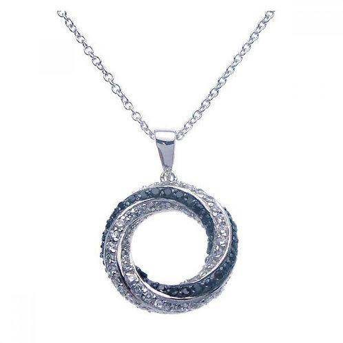Sterling SilverRhodium Open Circle Black & Clear CZ Necklace bgp00265