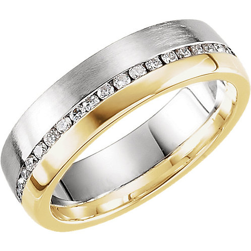 14K White & Yellow 6mm 1/3 CTW Diamond Band