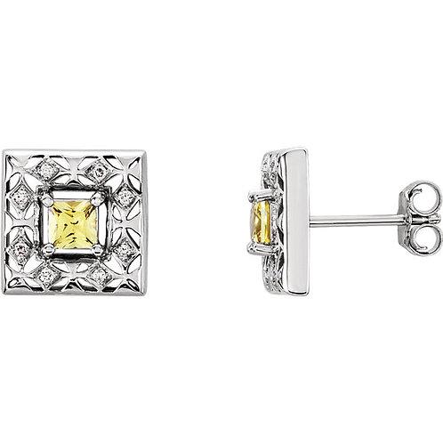 14K White Yellow Sapphire & .08 CTW Diamond Earrings