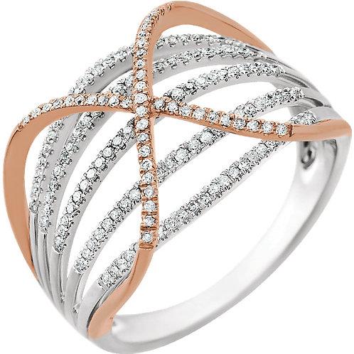 14K White & Rose 1/3 CTW Diamond Criss Cross Ring