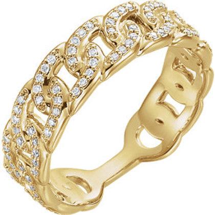 14K Yellow 1/4 CTW Diamond Interlocking Stackable Link Ring