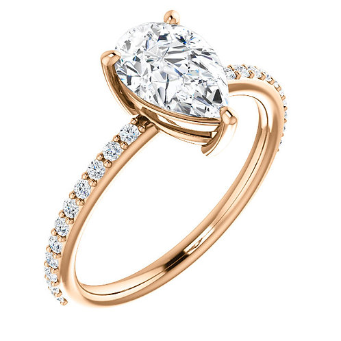 14K Rose gold 9x6mm Pear Moissanite & 1/2 CTW Diamond Engagement Ring