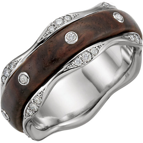 Platinum 1/3 CTW Diamond & Kingwood Inlay Band