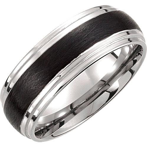 Tungsten 8.3mm Black & White PVD Ridged Band
