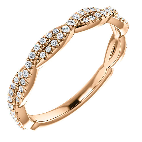 14K Rose Gold 1/5 CTW Diamond Woven Band