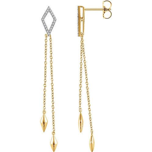 14K Rose 1/6 CTW Diamond Chain Earrings