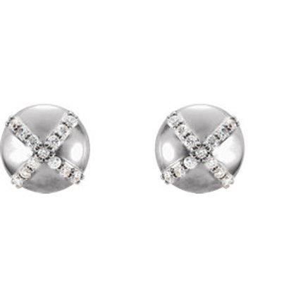 14K White 1/8 CTW Diamond Earrings