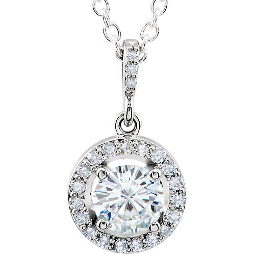 """14K White 6mm Round Forever Brilliant® Moissanite Halo-Style 18"""" Necklace"""