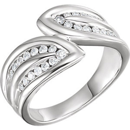 14K White 3/8 CTW Diamond Leaf Ring
