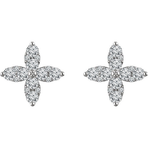 14K White Gold 1 1/4 CTW Diamond Flower Earrings