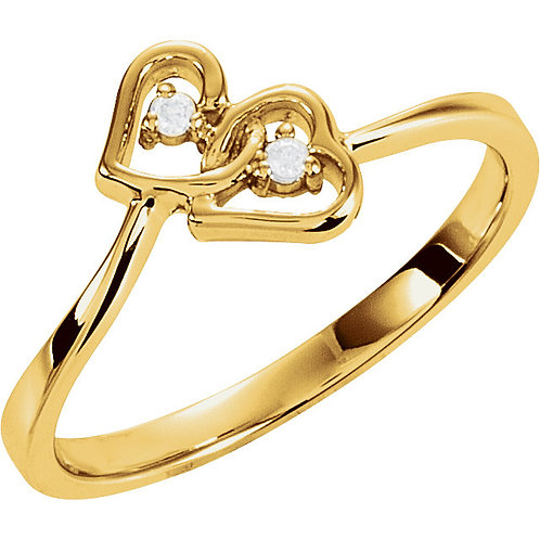 14K Yellow .02 CTW Diamond Double Heart Ring