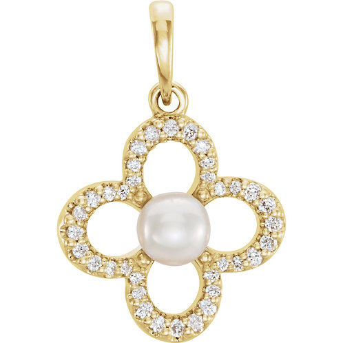 14K Yellow Gold Freshwater Cultured Pearl & 1/6 CTW Diamond Pendant