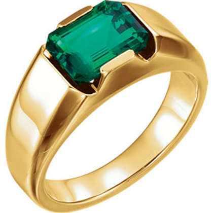 14K Yellow Chatham Created Emerald Men's Ring